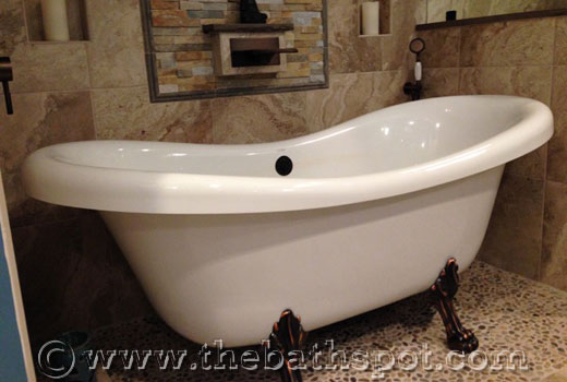 Julius Clawfoot Double Slipper Tub Installed in New Bathroom at the Sherlock Home