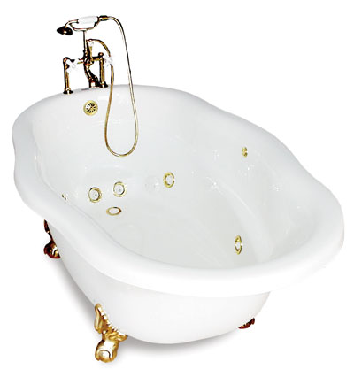 72 inch Clawfoot Bathtub with whirlpool Jets, shown with brass trim